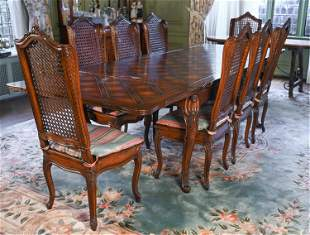 FRENCH STYLE CARVED DINING TABLE & CANED CHAIRS