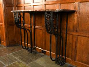 ART DECO WROUGHT IRON & MARBLE WALL CONSOLE TABLE