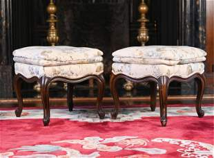 PAIR OF FRENCH STYLE OTTOMANS