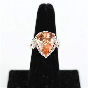 14K GOLD & MORGANITE & DIAMOND RING