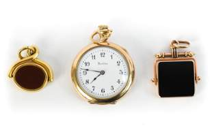 ANTIQUE HAMILTON POCKETWATCH & 14K GOLD FOBS