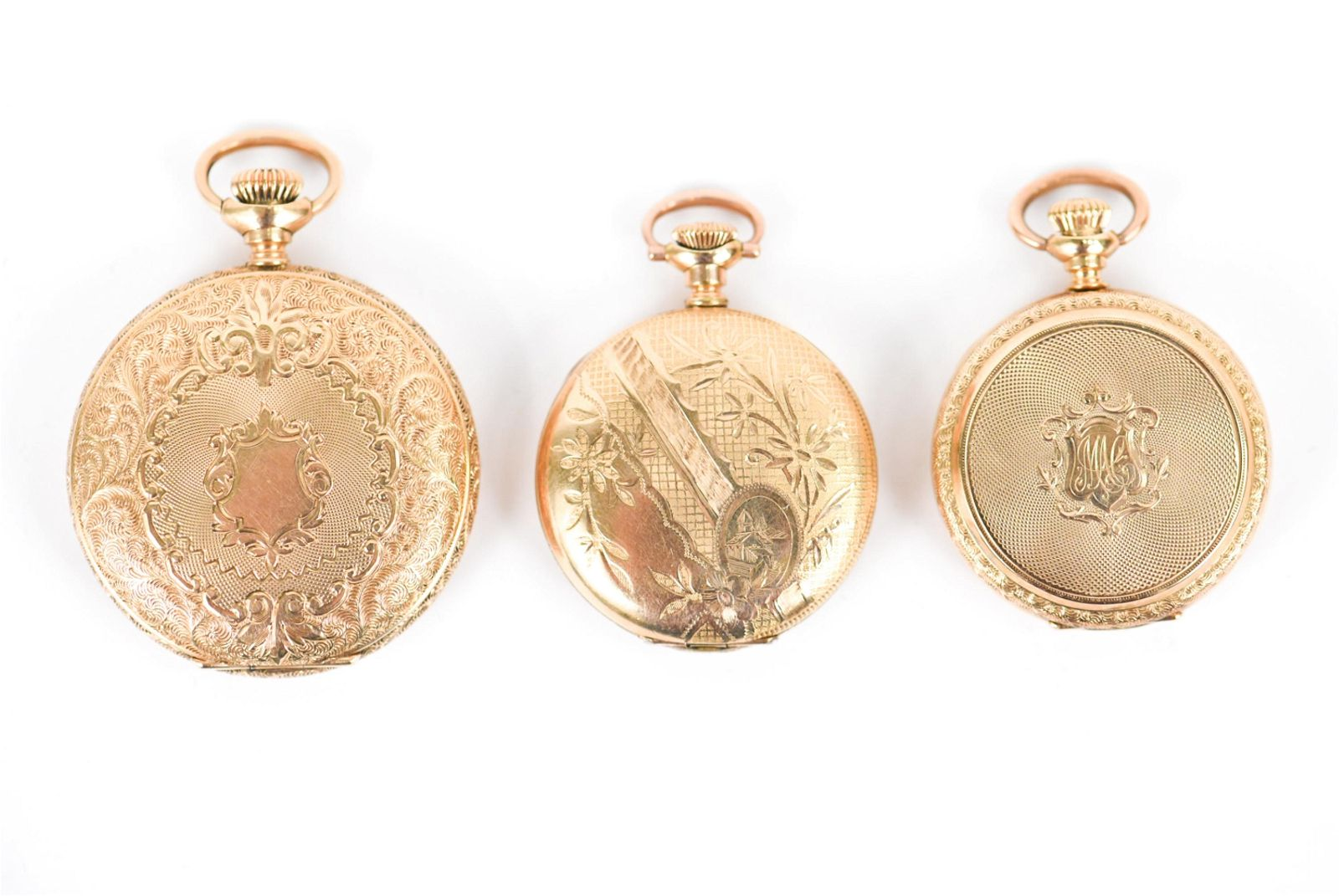 (3) HUNT CASE LADIES POCKET WATCHES INCL GOLD