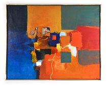LARGE MID-CENTURY ABSTRACT O/C PAINTING