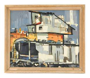 1962 ABSTRACT INDUSTRIAL OIL ON CANVAS BOARD