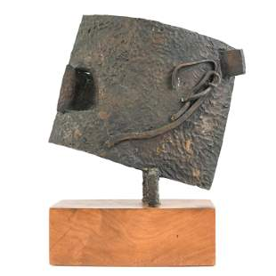 POSTMODERN ABSTRACT PATINATED BRONZE SCULPTURE