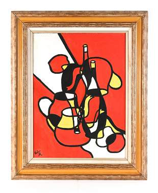 MODERN ABSTRACTED STILL LIFE GOUACHE ON PAPER