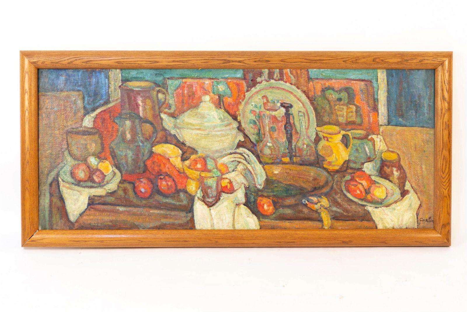 GUSTAVE CORLIN (FRENCH 1875-1969) STILL LIFE O/C