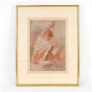 17TH CENTURY OLD MASTER DRAWING, MALE NUDE
