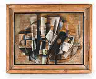 LARGE CONTEMPORARY CUBIST STYLE STILL LIFE
