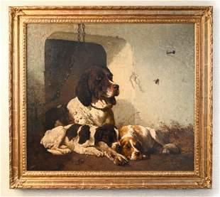 VINCENT DE VOS (1829-1875) O/C OF DOGS