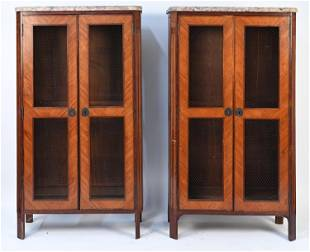 VINTAGE FRENCH TALL CABINETS WITH TERRAZZO TOPS