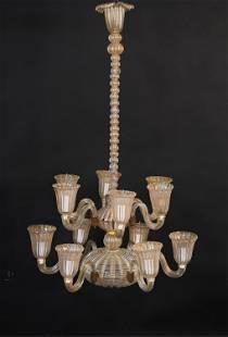 LORIN MARSH ITALIAN ART GLASS CHANDELIER