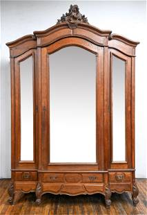 ANTIQUE FRENCH LOUIS XV STYLE MIRROR FRONT ARMOIRE