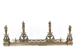 NEOCLASSICAL STYLE FIRE FENDER AND ANDIRONS