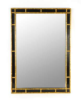 GOLD PAINTED FAUX BAMBOO CHINOISERIE WALL MIRROR