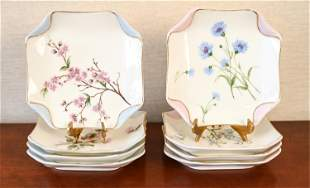 (8) H&C LIMOGES PORCELAIN FLORAL PLATES
