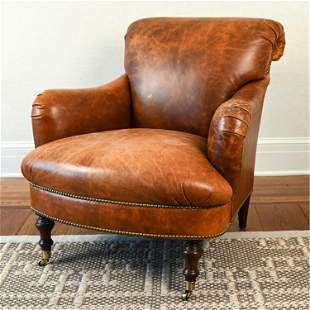 EDWARD FERRELL LEATHER LOUNGE CHAIR