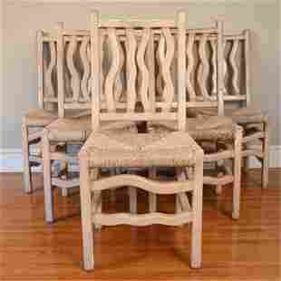 (6) VINTAGE WAVY SPINDLE-BACK DINING SIDE CHAIRS