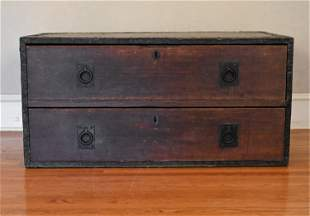 ANTIQUE 2-DRAWER CAMPAIGN CHEST