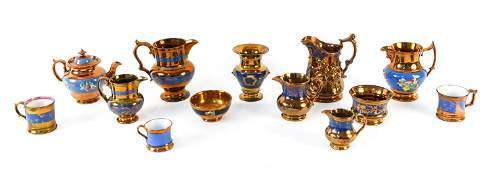 GROUPING OF ANTIQUE ENGLISH COPPER LUSTERWARE