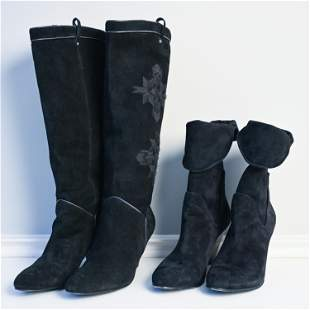 (2) PAIRS WOMEN'S SUEDE HEELED BOOTS, SIZE 8.5
