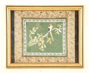 FRAMED ASIAN SILK PARROT EMBROIDERY