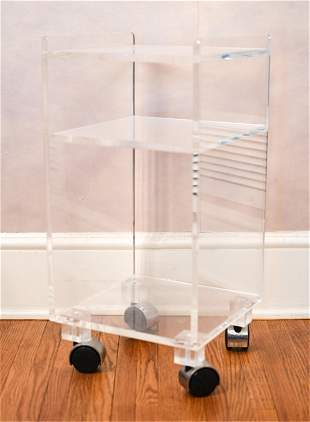 CONTEMPORARY ACRYLIC ROLLING STORAGE CART