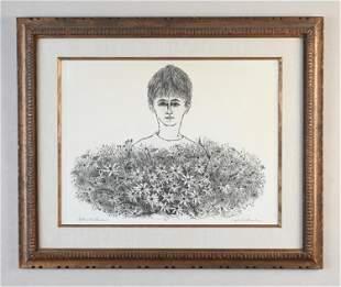 "JOSEPH J. STELMACH ETCHING ""CHILD WITH FLOWERS"""