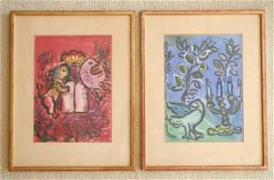 (2) MARC CHAGALL (1887-1985) BOOKPLATE LITHOGRAPHS
