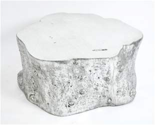 SILVERED TREE TRUNK FORM COFFEE TABLE