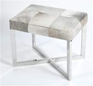 WISTERIA COWHIDE & STEEL X-BASE BENCH
