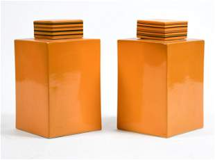 PAIR OF MODERN ORANGE CERAMIC SQUARE COVERED JARS