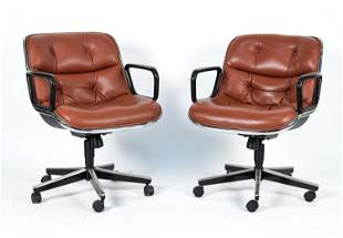 CHARLES POLLOCK EXECUTIVE LEATHER ARM CHAIRS