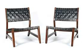 PAIR OF WALNUT AND WOVEN LEATHER LOUNGE CHAIRS