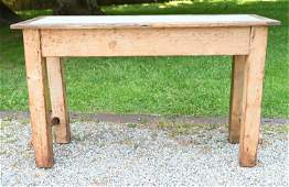 MARBLE-TOP PINE WORK TABLE OR KITCHEN CONSOLE