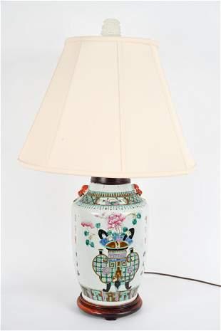 CHINESE FAMILLE VERT VASE AS LAMP
