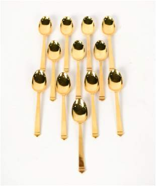 (12) TIFFANY STERLING GOLD VERMEIL SPOONS