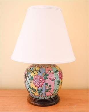 CHINESE CERAMIC GINGER JAR LAMP