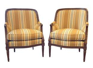 PAIR OF LEWIS MITTMAN UPHOLSTERED CLUB CHAIRS