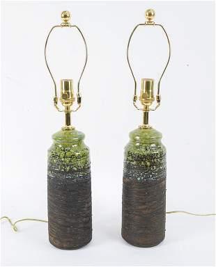 PAIR ATTR. TILGMANS MID-CENTURY CERAMIC LAMPS