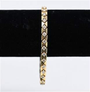 ITALIAN 14K GOLD & DIAMOND BRACELET