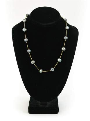14K YELLOW GOLD CHAIN & TAHITIAN PEARL NECKLACE