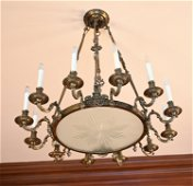 ANTIQUE 19TH C. FRENCH BRONZE & GLASS CHANDELIER