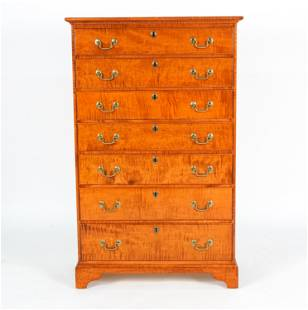 IAN INGERSOLL TIGER MAPLE CHIPPENDALE TALL CHEST