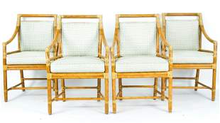 (4) MCGUIRE RATTAN TARGET-BACK DINING ARMCHAIRS