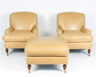 PAIR BRUNSCHWIG & FILS LEATHER LOUNGE CHAIRS