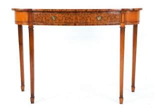 SMITH & WATSON BURLED MAHOGANY CONSOLE TABLE