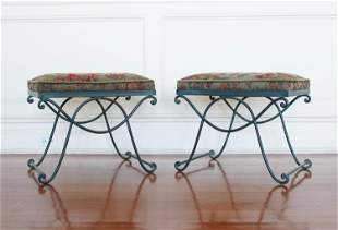 PAIR OF HOLLYWOOD REGENCY STYLE X-BASE BENCHES