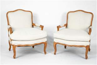 PAIR OF FRENCH PROVINCIAL STYLE FAUTEUIL CHAIRS