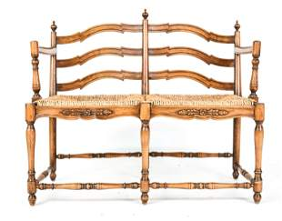 RUSTIC FRENCH PROVINCIAL CARVED RUSH-SEAT BENCH